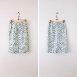 VINTAGE Linen Pastel Floral Pencil Skirt